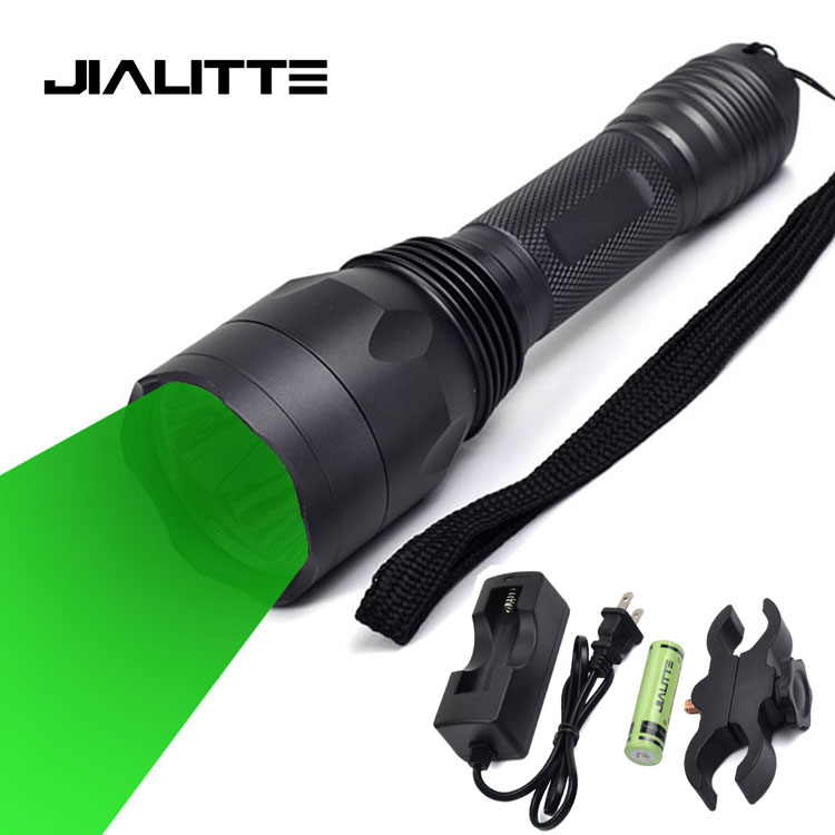 Jialitte F137 High Power 3x Q5 Hunting Green Light Rechargeable 18650  Aluminum Tactical Led Flashlight